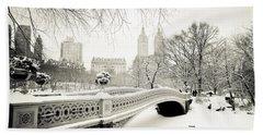 Winter's Touch - Bow Bridge - Central Park - New York City Beach Towel