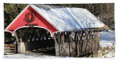Wintry Flume Covered Bridge Beach Towel