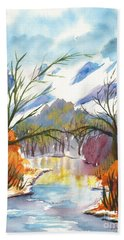 Wintry Reflections Beach Towel