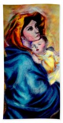 Mondonna Of The Street By Roberto Ferrizzi, Rendition In Pastel Antonia Citrino,  Sold.        Beach Towel
