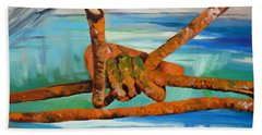 Beach Towel featuring the painting Wire by Daniel Janda