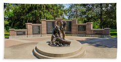Beach Towel featuring the photograph Wisconsin State Firefighters Memorial 1 by Susan  McMenamin