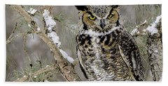 Wise Old Great Horned Owl Beach Sheet