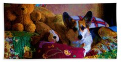 With His Friends On The Bed Beach Towel by Mick Anderson