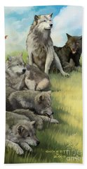 Beach Towel featuring the painting Wolf Gathering Lazy by Rob Corsetti