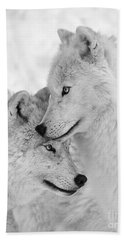 Wolf Love Black And White Beach Sheet