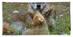 Wolf Mother And Pups Beach Towel