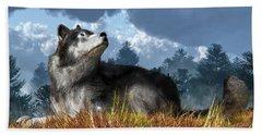 Wolf Resting In Grass Beach Towel