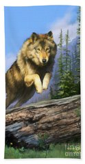 Wolf Run Beach Towel by Rob Corsetti