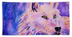 Wolf  - White Wolf  - Aurora Nights Beach Towel