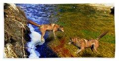 Beach Towel featuring the digital art Wolves by Daniel Janda