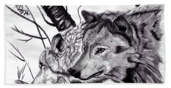 Beach Sheet featuring the drawing Wolves by Mayhem Mediums