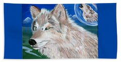 Beach Sheet featuring the painting Wolves by Phyllis Kaltenbach
