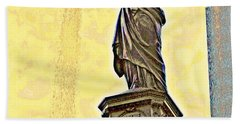Woman And Flowing Water Sculpture At Fountain Square Beach Towel