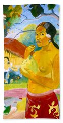 Woman Holding Fruit Beach Sheet by Henryk Gorecki