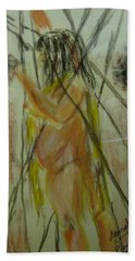 Woman In Sticks Beach Sheet by David Trotter