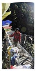 Woman Trekker In The Khumbu Region Beach Towel