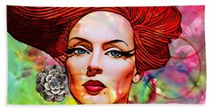 Woman With Earring Beach Towel