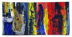 Beach Towel featuring the painting Women In Ceremony by Kicking Bear  Productions