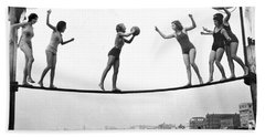 Women Play Beach Basketball Beach Towel by Underwood Archives