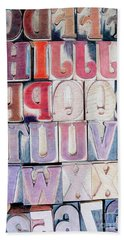 Wood Block Letters Beach Towel