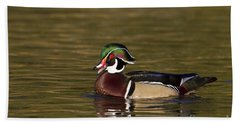 Wood Duck Calling Beach Towel by Bryan Keil