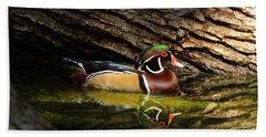 Wood Duck In Wood Beach Towel by Robert Frederick