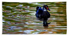 Beach Towel featuring the photograph Wood Duck Reflections by John F Tsumas