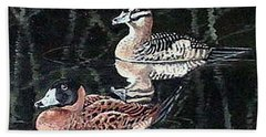 Beach Towel featuring the painting Wood Ducks Study by Donna Tucker