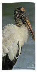Wood Stork In Oil Beach Towel