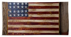 Wooden American Flag On Wood Wall Beach Towel