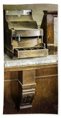 Beach Towel featuring the photograph Wooden Bank Cash Register by Betty Denise