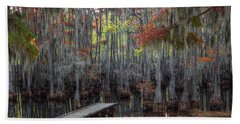 Wooden Dock On Autumn Swamp Beach Towel