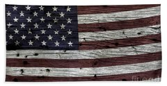 Wooden Textured Usa Flag3 Beach Sheet