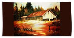 Beach Towel featuring the painting Woodland Barn In Autumn by Al Brown