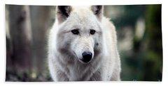 Woodland White Wolf Beach Towel