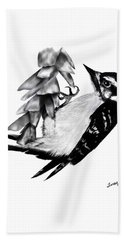 Woodpecker Beach Towel by Terry Frederick