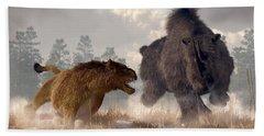 Beach Towel featuring the digital art Woolly Rhino And Cave Lion by Daniel Eskridge
