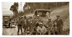 Workers On Highway One Monterey Carmel Hill California 1929 Beach Sheet by California Views Mr Pat Hathaway Archives