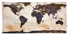 World Map Abstract Beach Towel