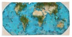 World Map Cartography Beach Towel