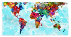 World Map Spattered Paint Beach Towel