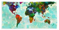World Map Splatter Design Beach Towel