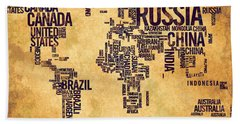 World Map Typography 6 Watercolor Painting Beach Towel