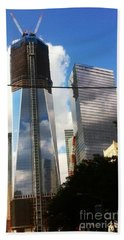 World Trade Center Twin Tower Beach Sheet by Susan Garren