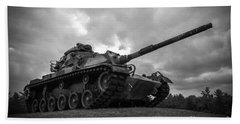 World War II Tank Black And White Beach Sheet