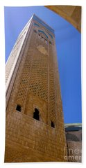 Beach Towel featuring the photograph Worlds Tallest Minaret At 210m Hassan II Mosque Grand Mosque Sour Jdid Casablanca Morocco by Ralph A  Ledergerber-Photography