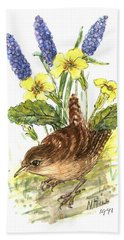 Wren In Primroses  Beach Towel