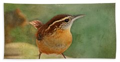 Wren With Verse Beach Towel by Debbie Portwood