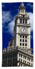 Wrigley Building Clock Tower Beach Towel